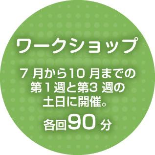ワークショップは7 月から10 月までの第1週と第3 週の土日に開催。各回90 分